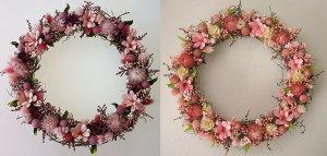 ピンクのお花のリース